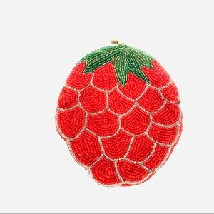 Vintage Mid Century Coin Purse, Beaded Strawberry